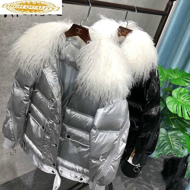 Womens Coats Winter Jacket Women Korean Puffer Jacket Sheep Fur Collar Warm Parkas Chamarras De Mujer KTL-2071 YY1208