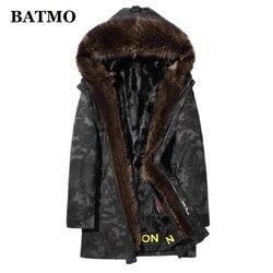 BATMO 2019 new arrival winter natural raccoon fur collar&mink fur liner parkas men,men's fur coat,9629