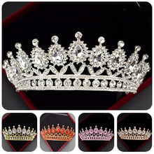 Explosion Retro Multicolor Baroque Bridal Wedding Crown Luxury Queen Crystal Princess Birthday Party Headdress