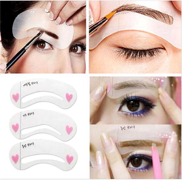 BearPaw 3 Styles/Pack Reusable Eyebrow Stencils DIY Makeup Tools Eyebrow Drawing Guide Card Eyebrow Card Template DIY Makeup
