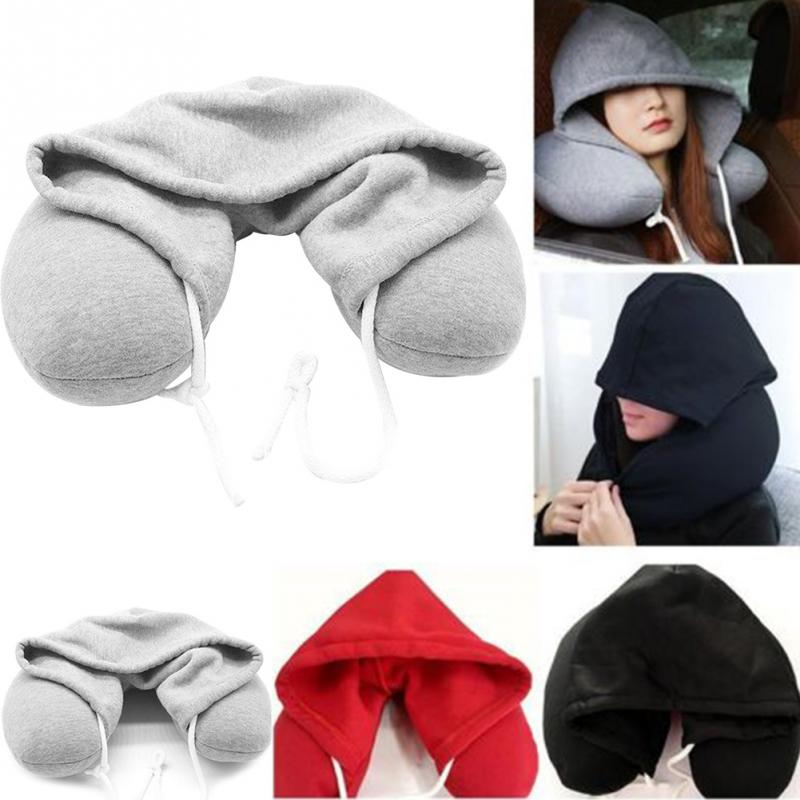 Adults Portable Solid U-shaped Pillow Drawstring MicrobeadsHooded nap cervical pillow microparticle travel