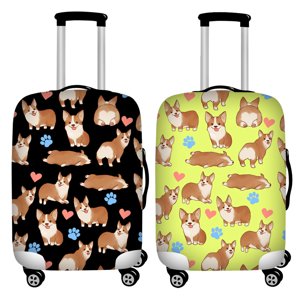 FORUDESIGNS Black Corgi Dog Print Travel Luggage Covers Waterproof Suitcase Cover For 18''-32'' Trunk Case Elastic Baggage Cover