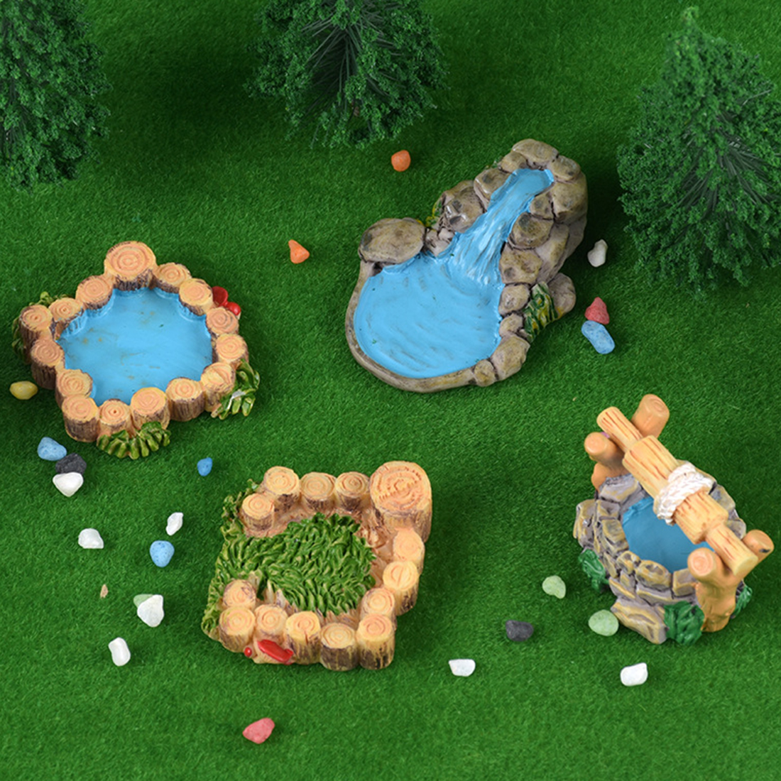Retro Well Miniature Fairy  +Timber Pile Grass+Pool+Mountain Water Little  Fairy Garden Decor Landscape For DIY Sand Table