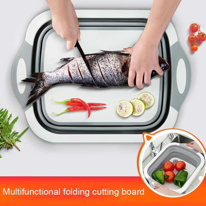 Dozzlor מתקפל חיתוך לוח צלחת אמבטיה מטבח ירקות כביסה סל ניקוז סל 3-in-1 עיצוב