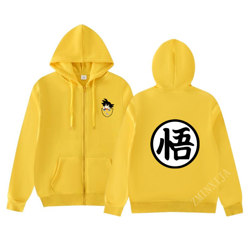 Mens Hoodies Anime Dragon Ball Z Casual Sweatshirt  Streetwear Hoodie Men /women 2019 Autumn Winter Zip Hooded Jacket Hoody