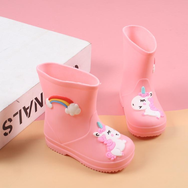New Rainbow Unicorn Rain Boots Kids For Boys Rain Boots Waterproof Baby Girls Non-slip PVC Rubber Water Shoes Children Rainboots