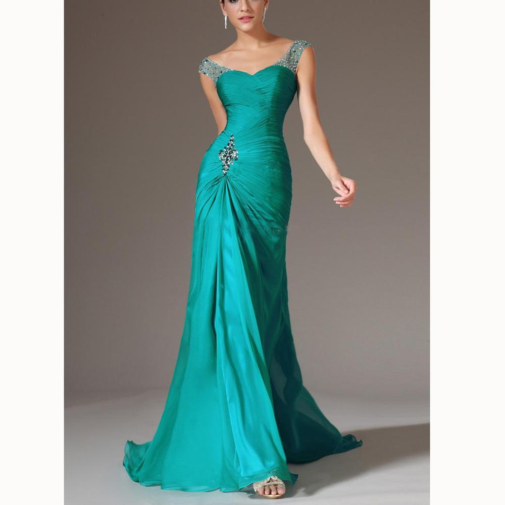 New Design Best Selling Asymmentric V-neck Court Train Chiffon Beading Pleat Prom Dresses Beaded Pleats Discount Prom Gowns Form