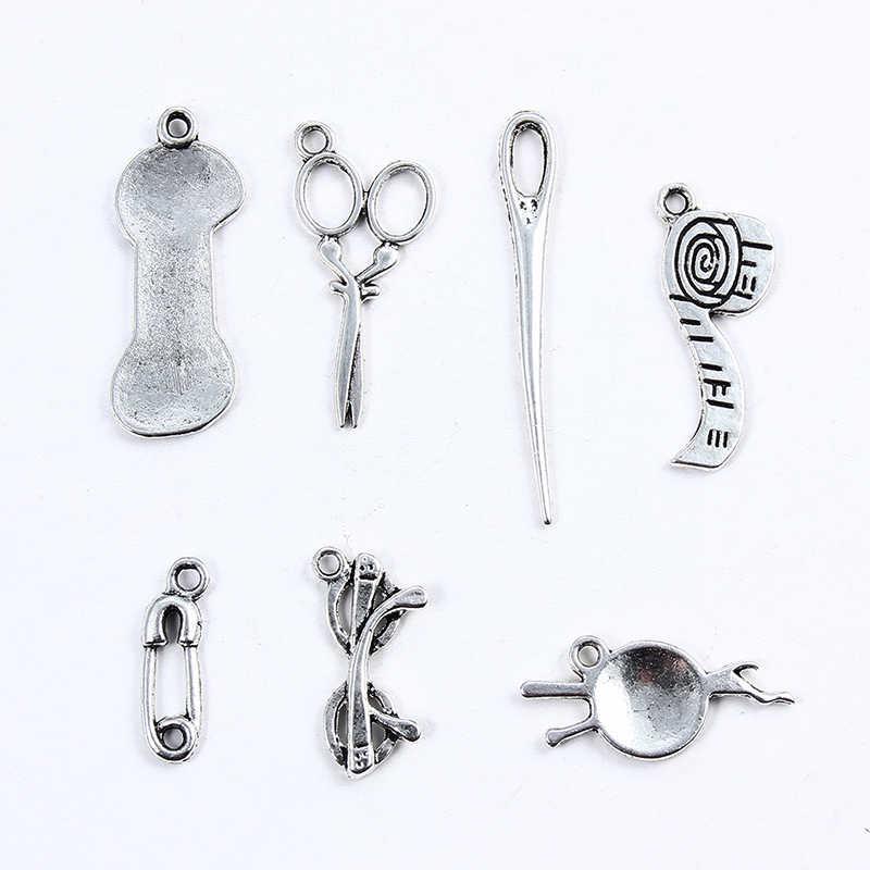 20 unidades/pacote tibetano prata costura ruller agulha tesoura fio misturado encantos pingentes para jóias unissex diy pulseira accessorie