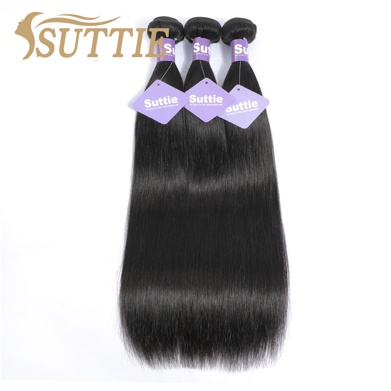 Suttie Peruvian Straight Human Hair Bundles Remy Hair Extension Natural Color 1/2/3/4 Bundles For Black WomenNo Shedding