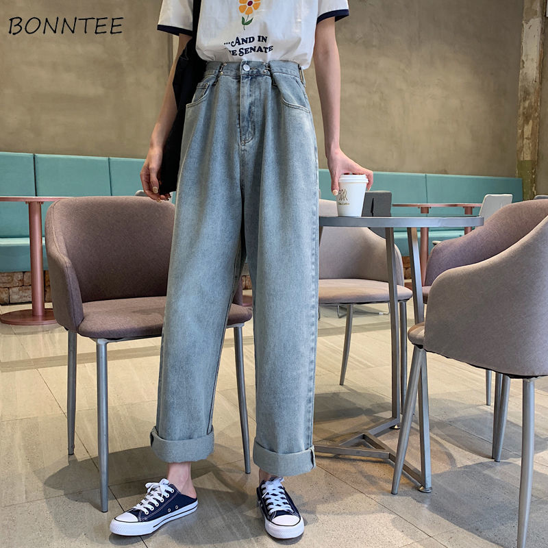 Wide Leg Jeans Women High Waist Zipper Loose Streetwear Korean Kpop BF Womens Trousers Vintage All-match Chic Harajuku Ulzzang