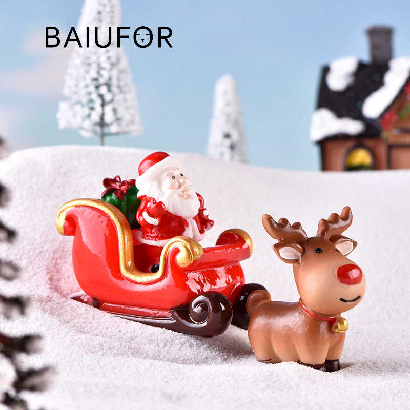 BAIUFOR Christmas Miniature Santa Claus Sled Reindeer Gift Train Terrarium Figurines Fairy Garden Decor Snow Landscape Model