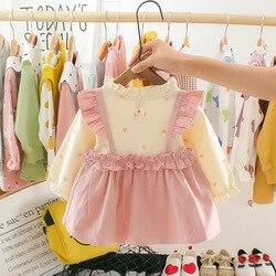 Bebê meninas vestido de flor outono primavera manga longa roupas crianças vestidos para recém-nascido infantil da criança princesa ano novo vestido de festa
