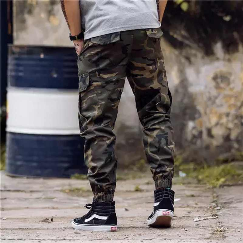 Camo Joggers hombres 2020 pantalones Cargo de primavera negro militar/pantalones de camuflaje pantalones de algodón puro hombres pantalones Cargo con bolsillos