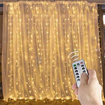 9 8 Ft zasłona girlandy z lampkami w kształcie sopli z pilotem i timerem 300 LED Fairy Twinkle Lights z 8 trybami pasuje do sypialni Weddi tanie i dobre opinie ROPIO Nieregularne Suche baterii RO-138 Ue wtyczka Koraliki 3x3m Warm white Cool white Multicolor Pink 5V USB 8 function with 8 remote controller