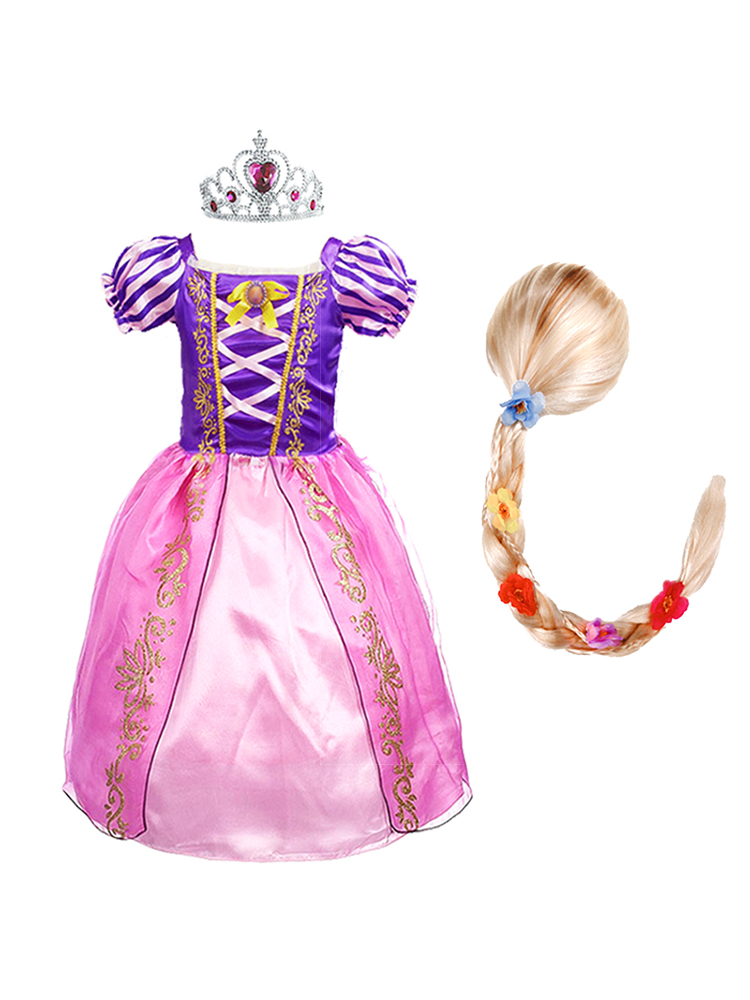 Wig Dress-Up Floral-Costume Frocks Rapunzel Birthday-Party Halloween Girls Kids Princess