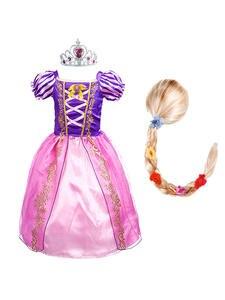 Flower-Costume Dress-Up Rapunzel-Dress Halloween Christmas Cosplay Girls Princess Kids
