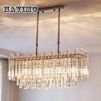 Lustre de cristal moderno para sala de jantar retângulo decoração para casa iluminação led lustres cristal iluminação|Lustres|   -