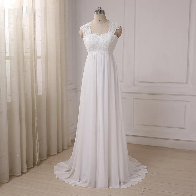 Cheap Beach Wedding Dresses Vestido De Noiva Cap Sleeve Sweetheart Empire Chiffon Bridal dress Lace Pregnant Weding Dress 1