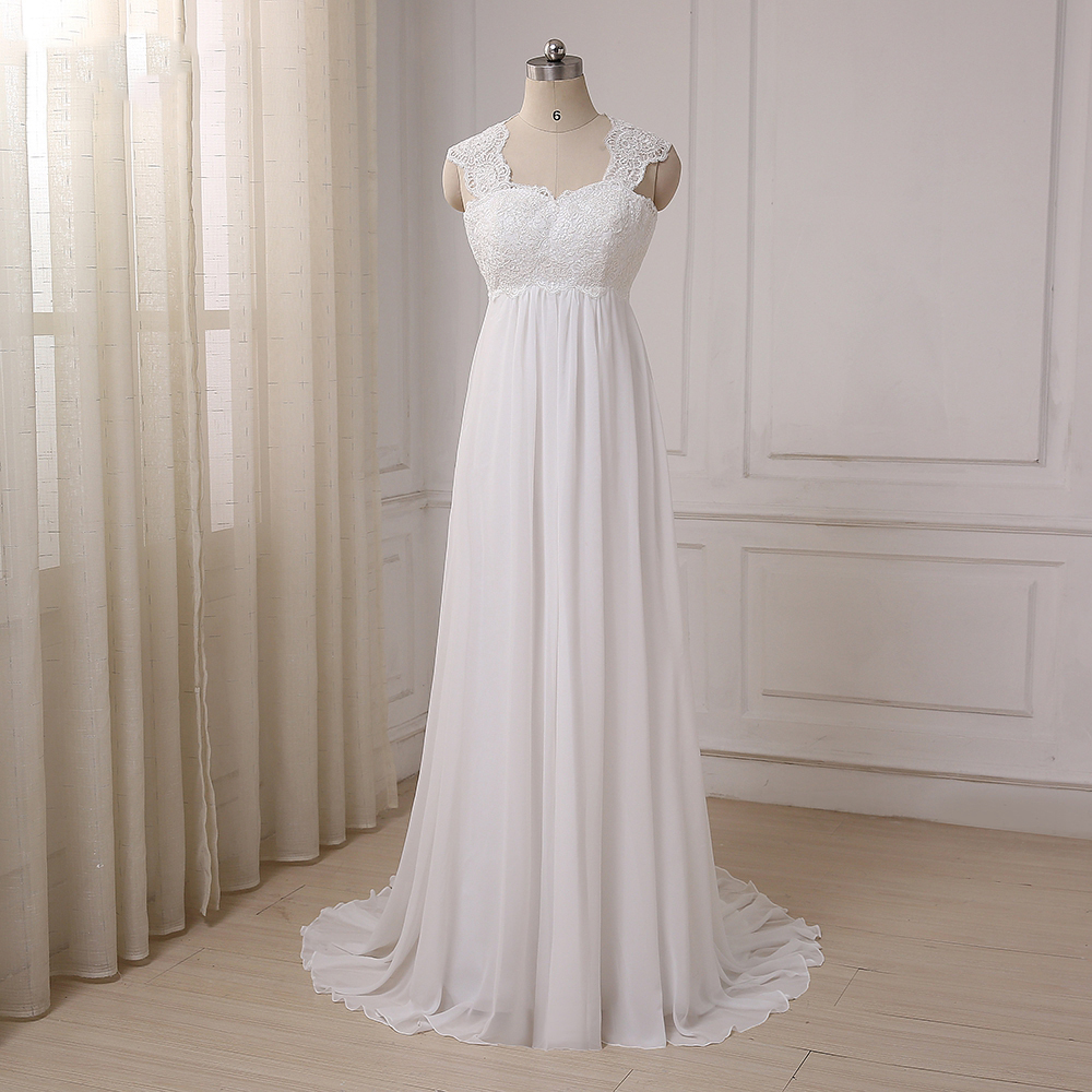Cheap Beach Wedding Dresses Vestido De Noiva Cap Sleeve Sweetheart Empire Chiffon Bridal Dress Lace Pregnant Weding Dress