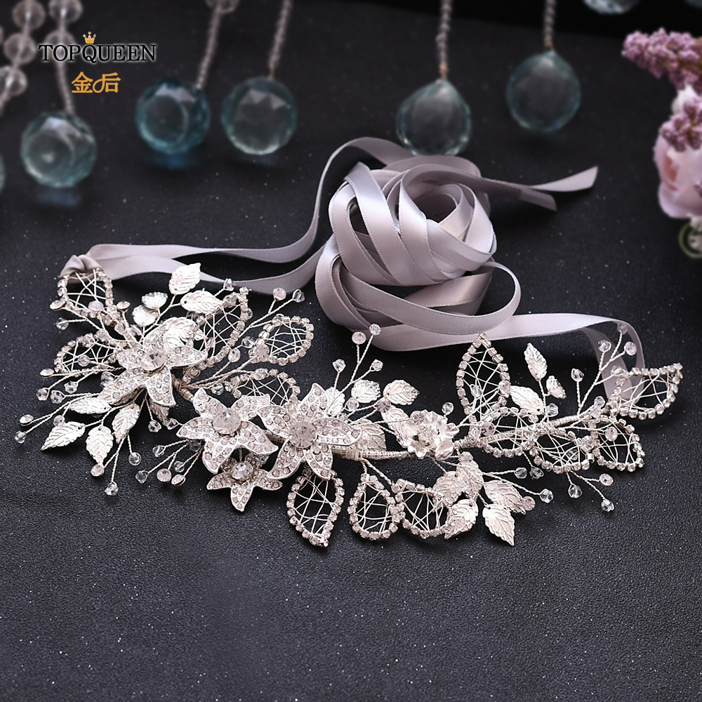 TOPQUEEN Silver Bridal Sash Belts Silver Sequin Belt Beaded Wedding Dress Belt Rhinestone Straps For Wedding Dress Belt SH282-S
