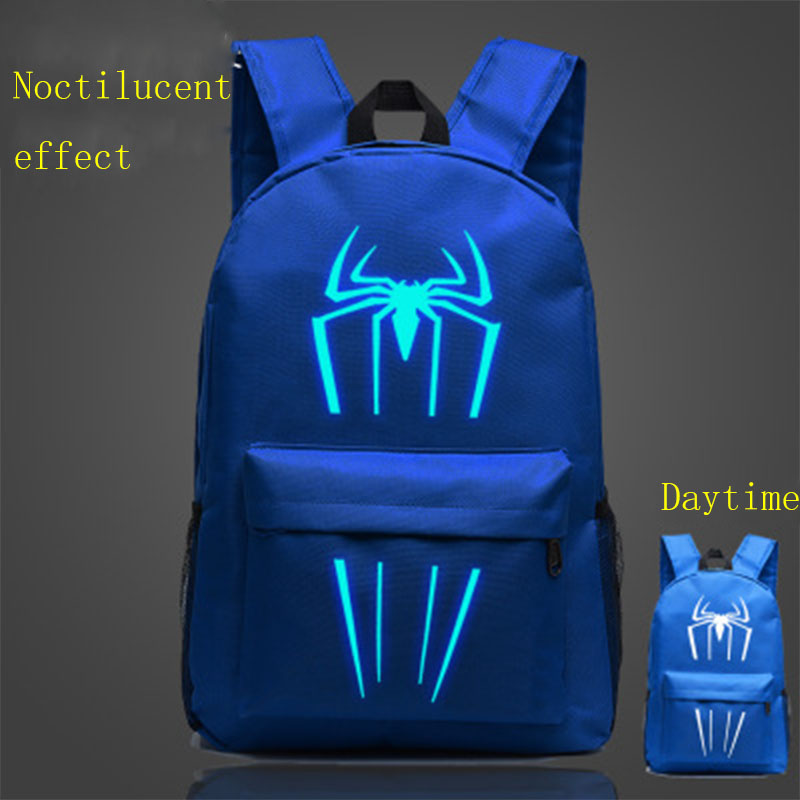 2019 Fluorescent Luminous Spiderman Spider Boy Girl School Bag Women Bagpack Teenagers Schoolbags Men Children Student Backpacks