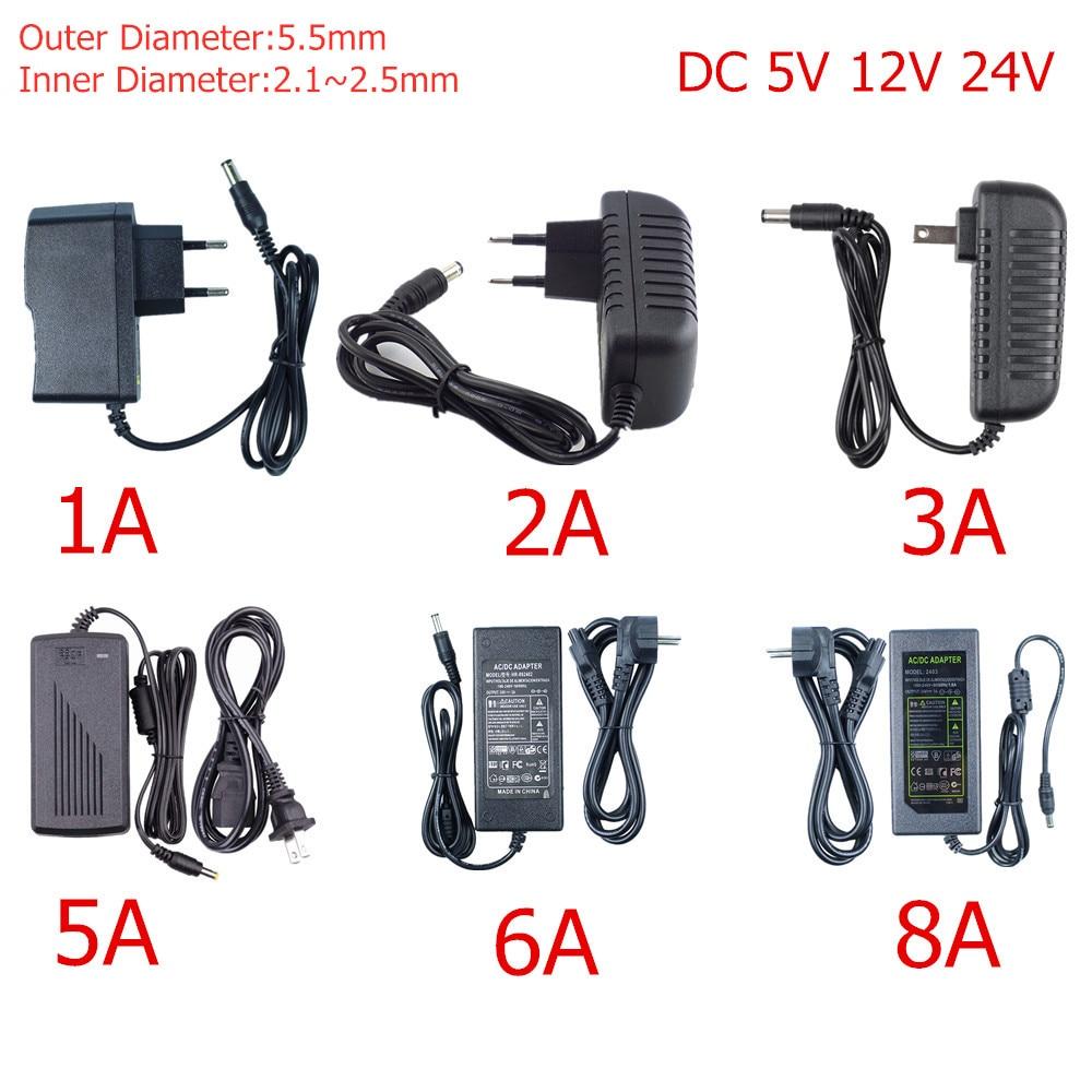 Светодиодный Мощность DC 5V 12V 24V светодиодный драйвер 5,5 мм * 2,1 мм Штекерный разъем для освещения трансформатор AC 85 ~ 265V Переключая Питание для ...