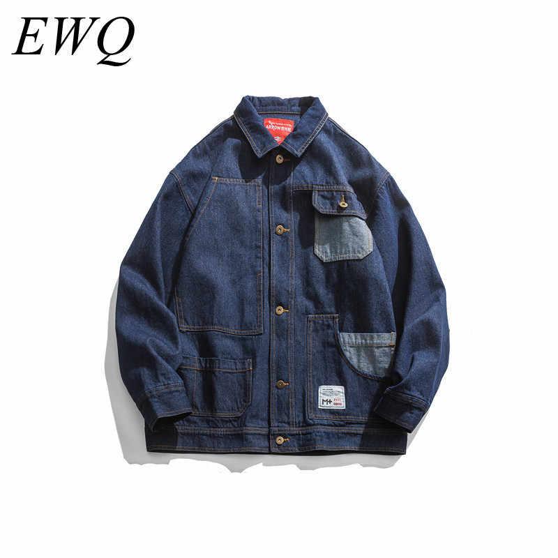 Ewq/Kan Schip Herenkleding 2020 Lente Mode Grote Maat Losse Denim Jas Voor Mannen Tij Patchwork Pocket jeans Jas 9Y82705