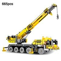 Mobile Crane MK II legoingly Technic City Engineering Lifting Crane vehicle truck Building Blocks Brick Toys For Children Gift