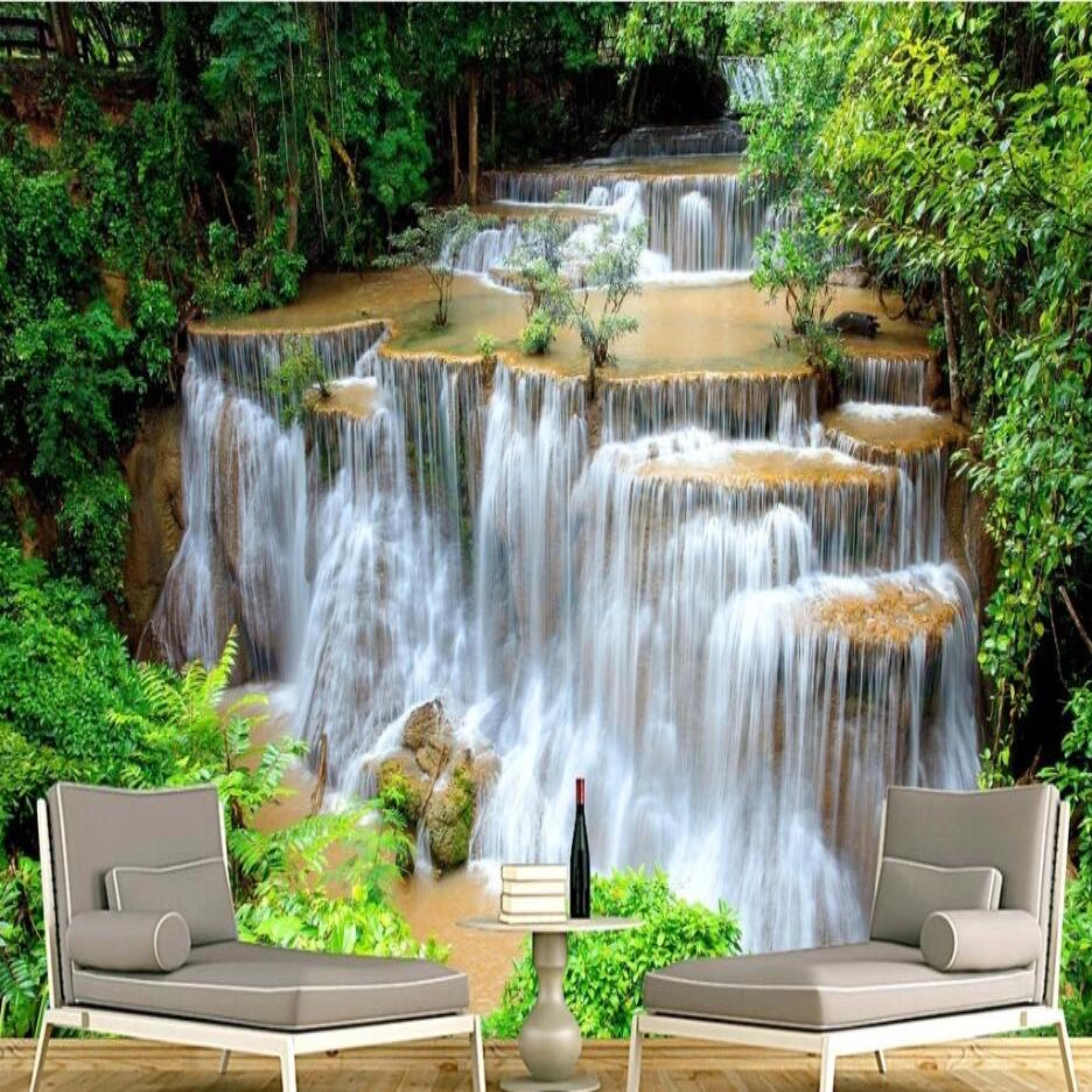 Custom 3D Photo Wallpaper HD Green Landscape Waterfall Beautiful TV Background Mural Bedroom Living Room Canvas
