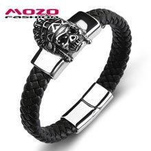 Mozo модные панк мужские ювелирные изделия черный плетеный браслет