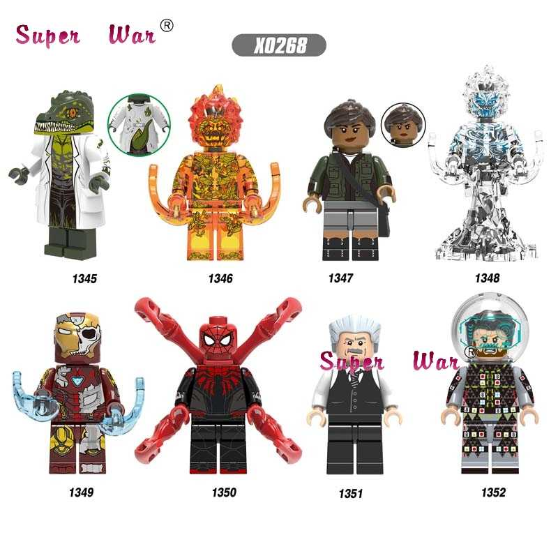 Single Marvel Movie Lizard Four Elementals Fire Wind Jonah MJ SpiderMan Mysterio IronMan Far From Home building blocks Kids Toys
