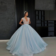 Light Blue Ball Gown Long Prom Dresses 2020 Beading Lace Organza vestidos de noite Formal Party Gown Evening Dress(China)