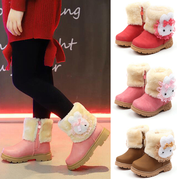 Cartoons Printed Fur Lined Boots kids Girls Winter Round Toe Ankle Boots Children Warm Snow Boots Shoes Footwear Baby Girls D30