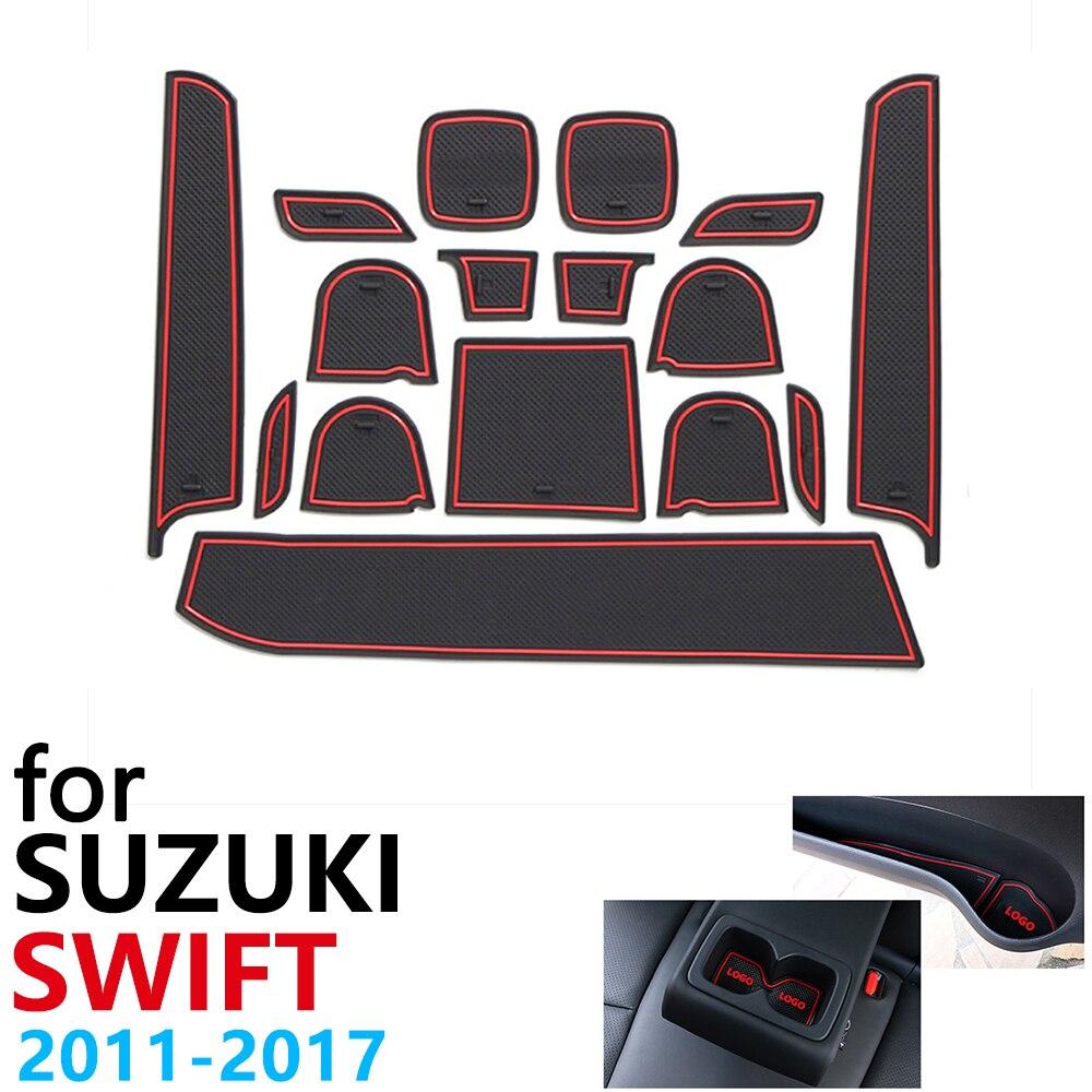 Anti-Slip Rubber Cup Cushion Door Groove Mat For Suzuki Swift Maruti DZire Sport ZC72S ZC82S ZC32S 2011~2017 Car Accessories