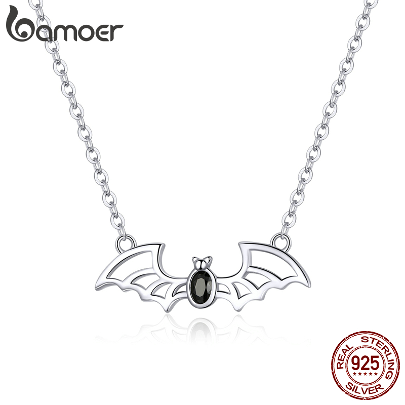 Bamoer Genuine 925 Sterling Silver Lucky Bat Chain Necklace For Women Fashion Jewelry Bijoux Lucky Girl Gifts BSN163