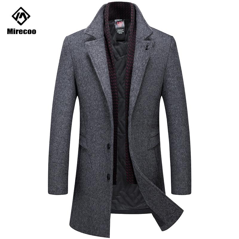 Detachable Scarf Classic Overcoat Men Solid Color Thick Woolen Jacket Men Turn-down Collar Men's Business Warm Wool Coat Winter