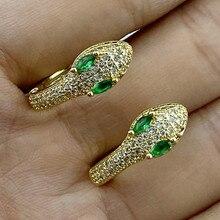Boucles d'oreilles serpent créatives en cuivre Zircon couleur or, de qualité supérieure, personnalité incrustée CZ, Style Cool, breloque, cadeau pour femmes