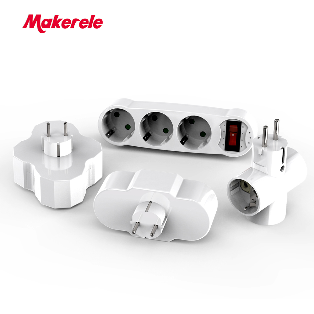 Makerele Conversion Socket EU outlet travel adapter power strip ABS 16A AC 110v-250v German style power extension(China)