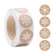 500pcs/Roll 1inch Snowflake Kraft Paper Stickers Christmas Gift Sticker Package Sealing Labels Xmas Navidad Noel Gift Box Decor