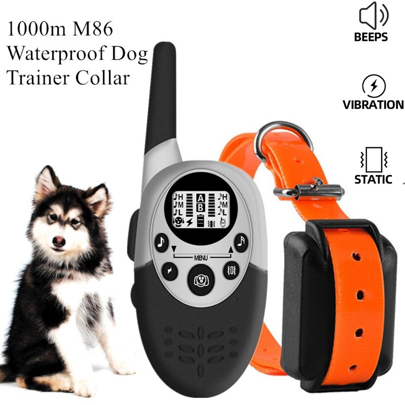 1000m Waterproof Dog Trainer Collar Remote Rechargeable Anti Barking Control Training Collar Device Vibration Sound Shock 40%off