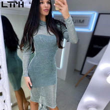 Hot sale New 2020 spring women dress ins Fashion bright silk see-through Solid O-Neck Full sleeve wild slim Sexy bag hip dresses