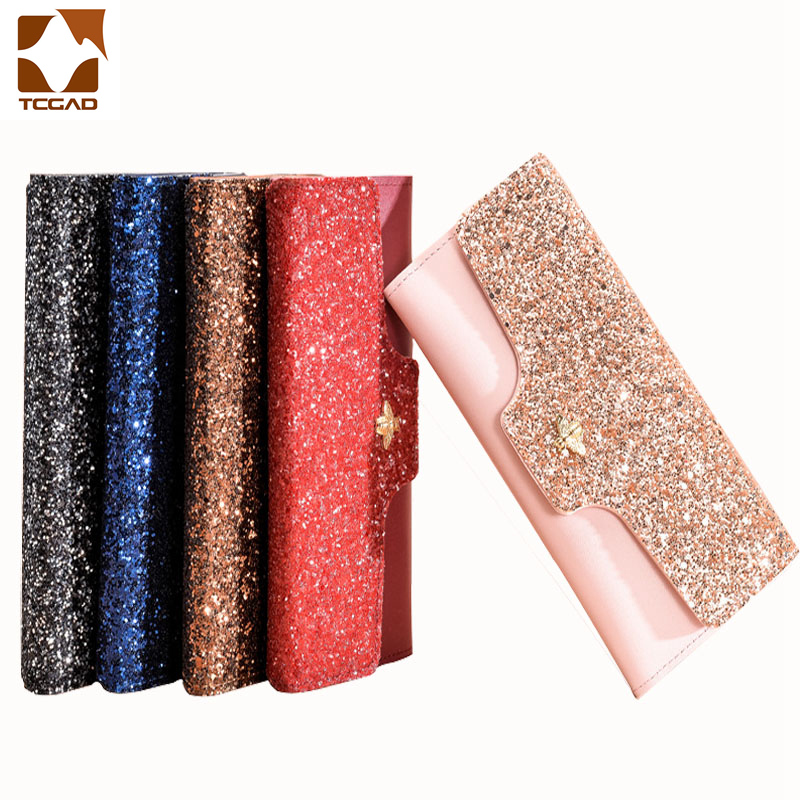 women's wallet glitter for women damski portfel femme luxe shiny carteras mujer Leather genuine purse Ladies brokat Bag carteira