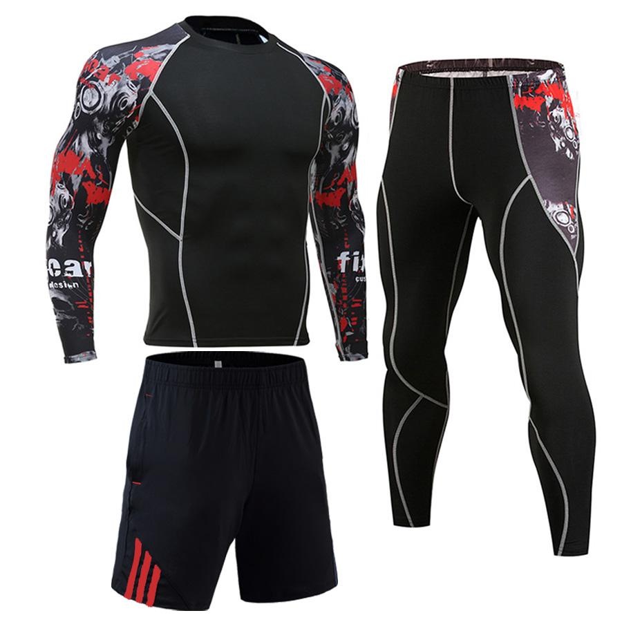 Men's Suit Sports Sets Tights Shirt Fitness Leggings Rashguard Kit MMA Compression Clothing Long Sleeves T Shirt+pants 2 Piece