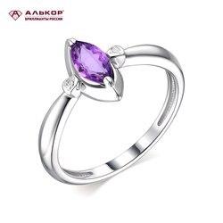 Ювелирные изделия Алькор серебряное кольцо с аметистом и бриллиантом 01-1910/БРАМ-00