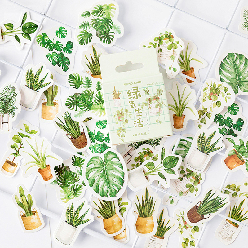 Green Plants Paper Small Diary Mini Japanese Cute Box Stickers Set Scrapbooking Cute Flakes Journal Stationery