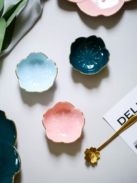 Flower Ceramic Dishes Seasoning Dipping Bowl Sakura Ceramic Dish Cherry Blossom Trinket Plate Sauce Dish Flower Dish for Kitchen 3