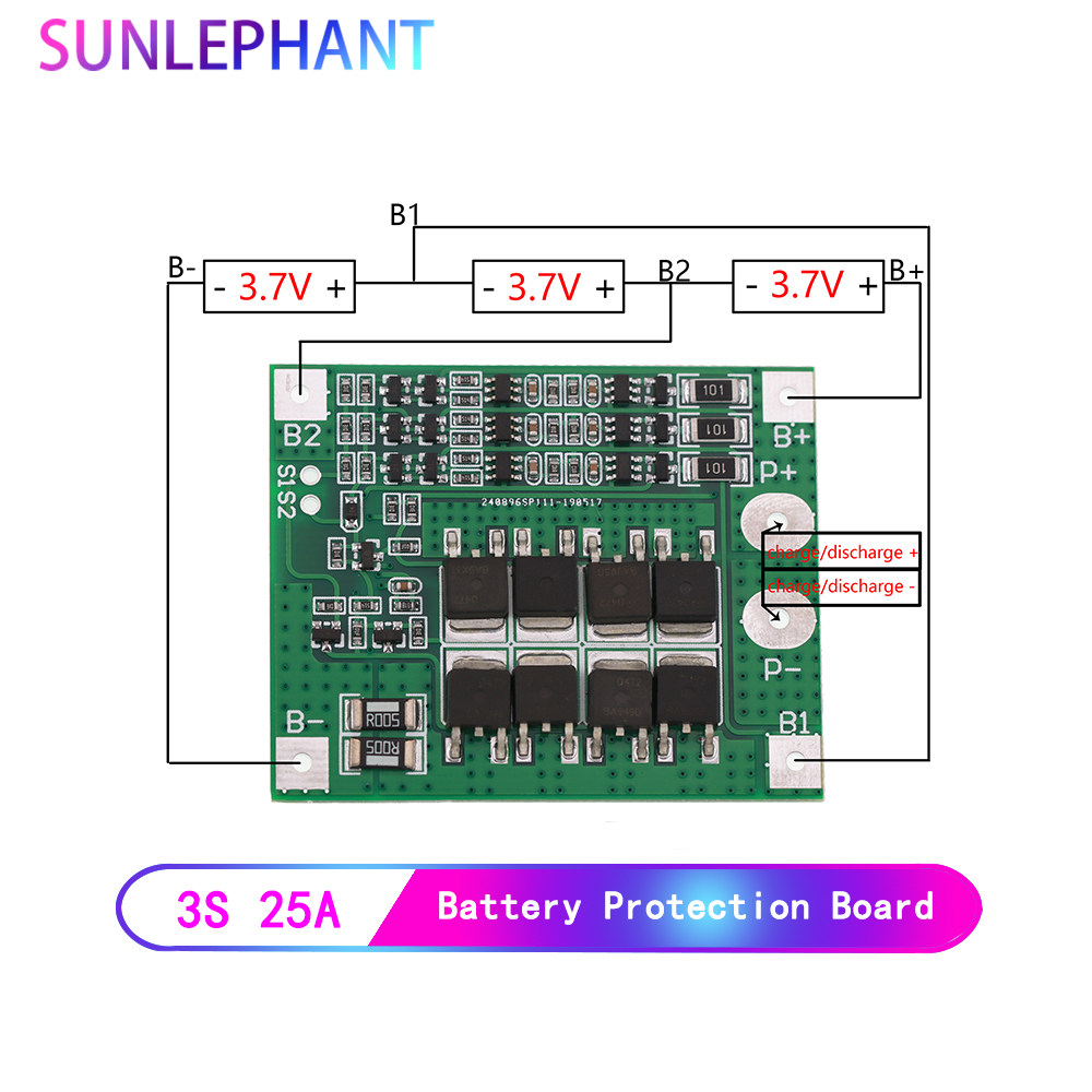 25A 3S Polymer Lithium Battery 18650 Charger PCB BMS Protection Board 3 Serial 12V 3.7 Lipo Li-ion Charging Protection Module