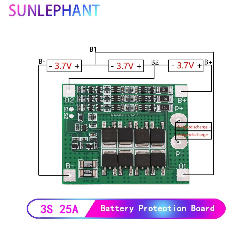 25a 3 s bateria de lítio polímero 18650 carregador pcb bms placa de proteção 3 serial 12 v 3.7 lipo li-ion módulo de proteção de carregamento