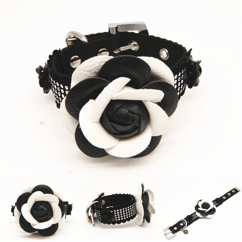 Origional New Style Camellia Series Pet Collar Dog Traction Mao Lian Small And Medium-sized Dogs Dog Chain