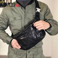 AETOO Handmade retro head layer cowhide men's chest bag, multi functional leather bag, trend sports slant bag